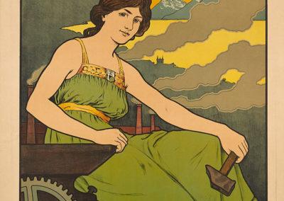 Vevey. Exposition cantonale vaudoise, exposition nationale Suisse des beaux arts, 28 juin 30 septembre 1901. Lithographie couleur 135 x 75cm