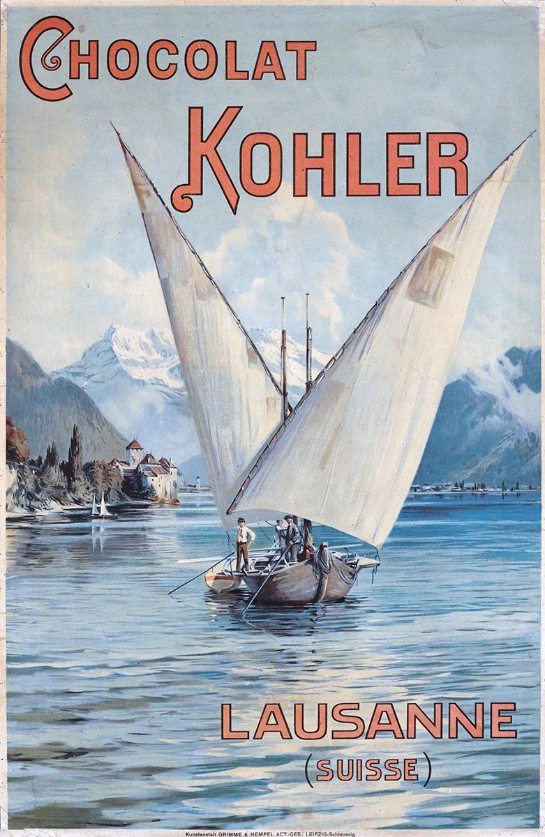 Chocolat Kohler, Lausanne (Suisse), 1900. Lithographie couleur 65 x 42cm. © Tous droits réservés, Kunstanstalt GRIMME & HEMPEL ACT.-GES, LEIPZIG-Schleussig. Galerie 1 2 3, Genève, www.galerie123.com