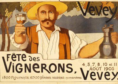 Fête des Vignerons, Vevey, 4, 5, 7, 8, 10 et 11 août 1905. Marguerite Burnat-Provins (1872-1952), impression par Säuberlin & Pfeiffer Vevey, 75 x 113,5cm. Réf. BCV Ca-266, médiathèque du Valais-Sion