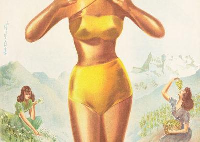 Fête des Vignerons, Vevey, Suisse. 1 au 14 août 1955. Victor Rutz (1913-2008), imprimé par S.A. Lith. Klausfelder, Vevey, 100 x 65cm. © Confrérie des Vignerons