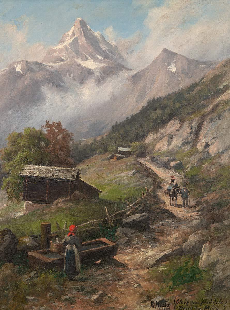 """F. Müller (?-?), """"Etude au pied de la Dent du Midi"""", huile sur toile 64 x 48cm, 1898. Collection privée"""
