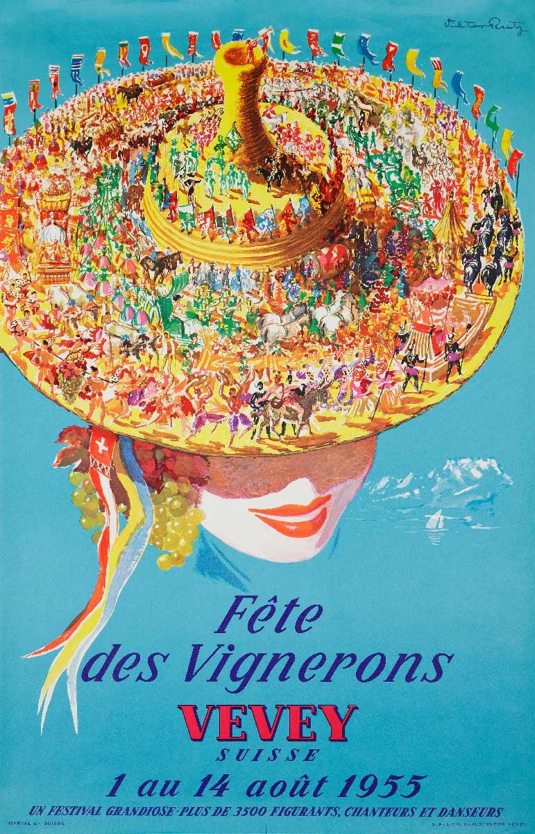 Fête des Vignerons, Vevey, Suisse. 1 au 14 août 1955. Lithographie couleur 100 x 65cm. © Confrérie des Vignerons, Victor Rutz (1913 - 2008), imprimé par S.A. Lith. Klausfelder, Vevey. Musée historique de Vevey