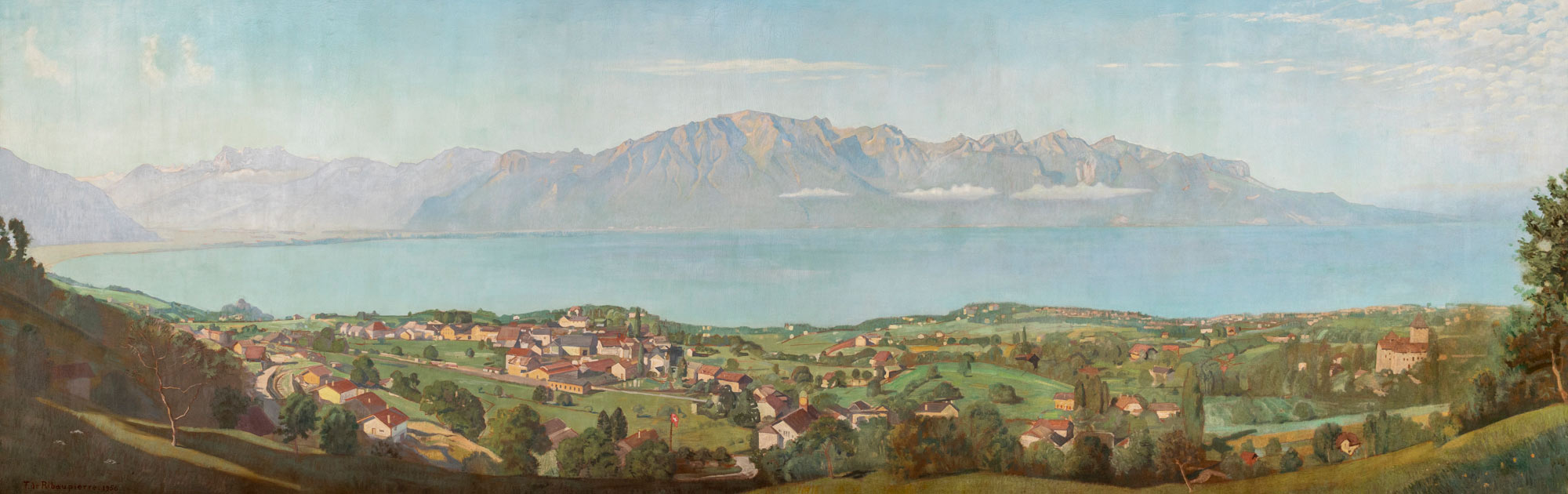 """François de Ribaupierre (1886 - 1981), """"Panorama du Léman"""", huile sur toile 177 x 547cm, 1956. Hall du bâtiment central de la gare de Vevey"""