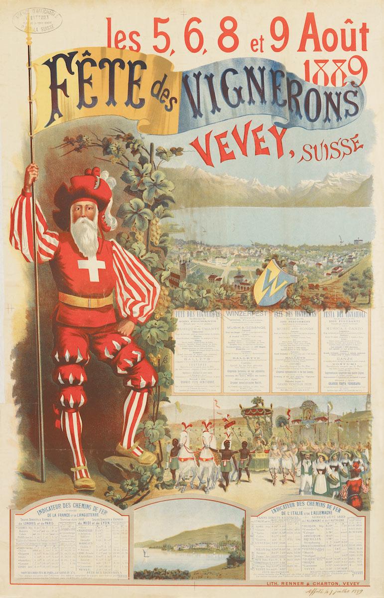 Fête des Vignerons, les 5, 6, 8 et 9 août 1889, Vevey, Suisse. Lithographie couleur 98 x 64cm. © Confrérie des Vignerons, lith. Renner & Charton, Vevey. Réf. Ca 123, bibliothèque de Genève