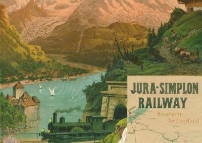 Jura-Simplon Railway, Switzerland, 1890. Frey & Conrad, Zürich, Suisse, lithographie couleur 106 x 76cm. Réf. BCV Ca-195, médiathèque du Valais-Sion