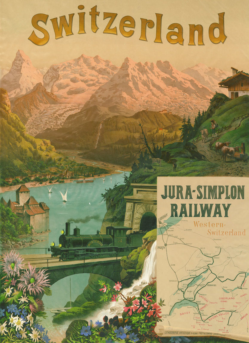 Jura - Simplon Railway, Switzerland, 1890. Lithographie couleur 106 x 76cm. Frey & Conrad, Zürich, Suisse. Réf. BCV Ca 195, médiathèque du Valais-Sion