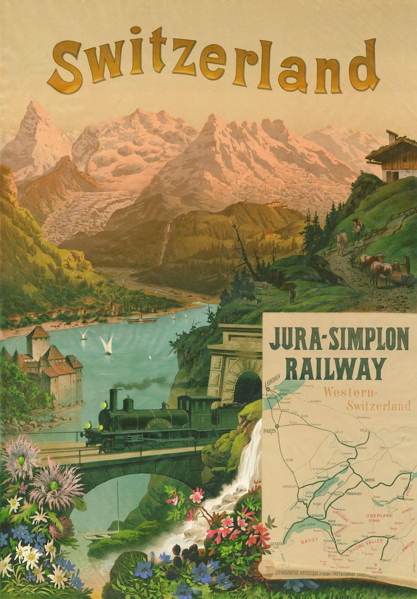 Les Dents-du-Midi dans les affiches. Jura - Simplon Railway, Switzerland, 1890. Frey & Conrad, Zürich, Suisse, lithographie couleur 106 x 76cm