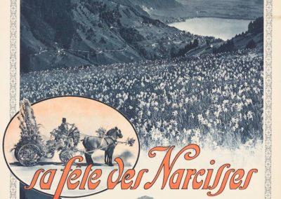 Montreux, sa fête des Narcisses, 4-5-juin 1921. © Tous droits réservés, auteur anonyme, affiches SADAG, Genève, lithographie couleur, 100 x 70cm. Réf. Ca-695, Bibliothèque de Genève