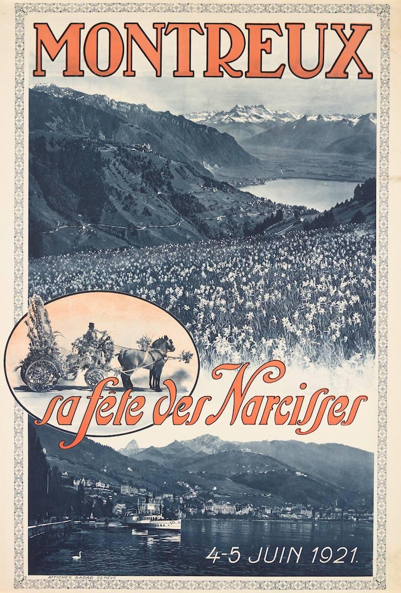 Montreux, sa fête des Narcisses, 4-5 juin, 1921. Lithographie couleur 100 x 70cm. © Tous droits réservés, auteur anonyme, affiches SADAG, Genève. Réf. Ca 695, bibliothèque de Genève
