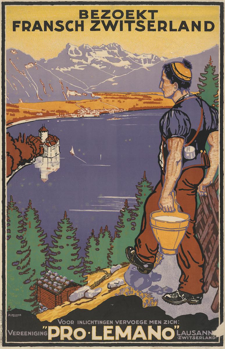 "Les Dents-du-Midi dans les affiches. Bezoekt Fransch Zwitserland, Voor inlichtingen Vervoege men zich, Vereeniging ""Pro-Lemano"", Lausanne, Zwitserland, 1925. Rodolphe Michaud, ""Simplon"" lithographie - Lausanne, 100 x 66cm"