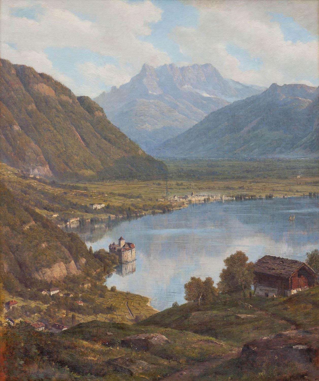 Alfred Chavanne (1836 – 1894), « Lac Léman avec château de Chillon et Dents du Midi », huile sur toile, 81 x 65 cm, 1881