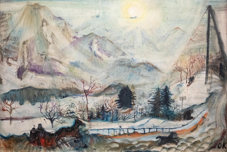 La région du Léman fascine Oskar Kokoschka (1886 – 1980) depuis qu'il la découvre à l'âge 24 ans. Après ses études effectuées à l'École d'arts et métiers de Vienne, il accompagne en décembre 1909 l'architecte, mécène et ami Adolf Loos (1870 – 1933) aux Avants, dans les Alpes vaudoises. L'artiste y réalise son célèbre tableau Les Dents du Midi, une peinture en décalage avec le style impressionniste de son époque. Rompant avec les couleurs vives et l'exactitude de la représentation de la lumière, il préfère des traits aux couleurs sombres et froides parcourues par les teintes jaunes et orangées de la neige et de la glace. Oskar Kokoschka (1886 – 1980), « Les Dents du Midi », huile sur toile 79,5 x 115,5cm, 1910. Collection particulière. © Fondation Oskar Kokoschka / 2019 ProLitteris, Zurich