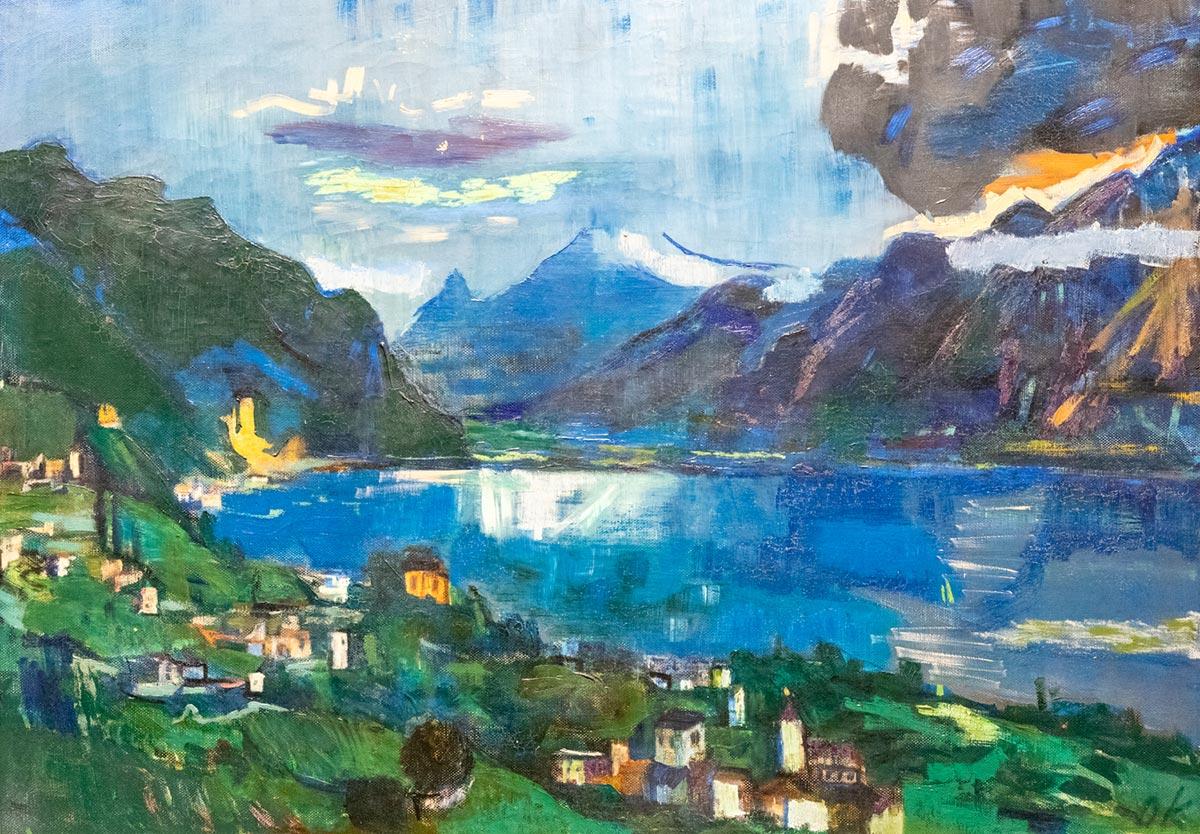 """Oskar Kokoschka (1886 - 1980), """"Lac Léman II"""", huile sur toile, 64 x 95 cm, 1923. Musée d'Ulm. © Fondation Oskar Kokoschka / 2019 ProLitteris, Zurich"""
