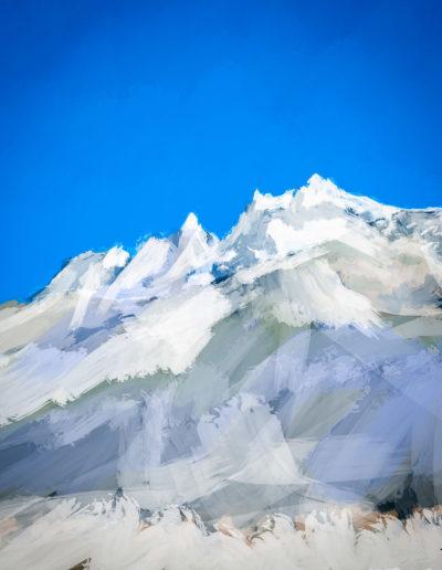 Les Dents-du-Midi couvertes de neige. Peinture numérique, 2018. Peintures, impressions par Danny Touw, Champéry. © Danny Touw