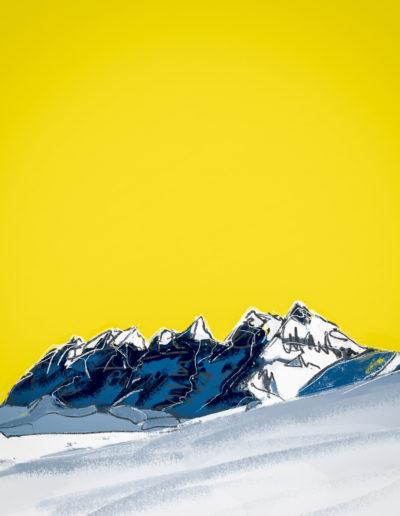 Les Dents-du-Midi, ciel jaune. Dessin et peinture numérique, 2018. Peintures, impressions par Danny Touw. © Danny Touw