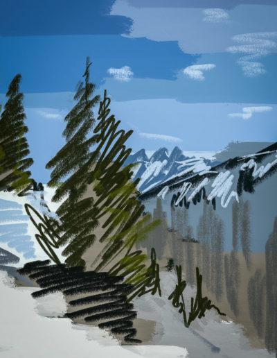 Les Dents-du-Midi vues depuis les Crosets. Dessin et peinture numérique, 2017. Peintures, impressions par Danny Touw. © Danny Touw