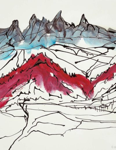 Les Dents-du-Midi. Encre et acrylique sur papier, 2008. Peintures, impressions par Danny Touw. © Danny Touw