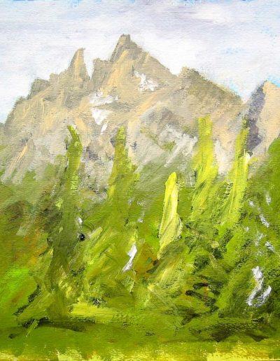 Les Dents-du-Midi, vues depuis Barme. Encre et acrylique, 2004. Peintures, impressions par Danny Touw. © Danny Touw