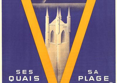 Vevey. Ses quais. Sa plage. Suisse. Ligne du Simplon, 1931. Henri Aragon (1909-2001), lithographie Säuberlin & Pfeiffer S.A. Vevey, 100 x 66cm. Réf. BCV Ca-420, médiathèque du Valais-Sion
