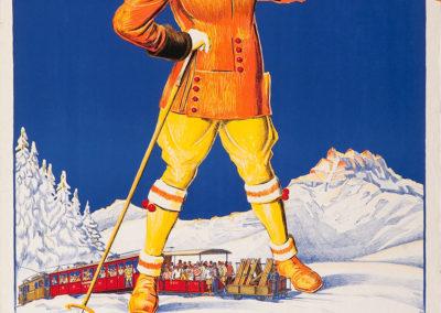 """Villars-Bretaye, altitude 1880m. L'hiver et ses plaisirs, 1930. Rodolphe Michaud (1891-1944), lithographie couleur """"Simplon"""", Lausanne, 100 x 71cm. Réf. 74-0585, eMuseum, Zürich"""