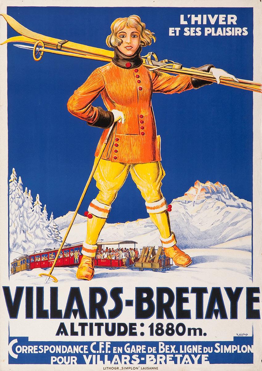 """Villars-Bretaye, altitude 1880m. L'hiver et ses plaisirs, 1930. Rodolphe Michaud (1891 - 1944), lithographie couleur """"Simplon"""", Lausanne, 100 x 71cm. Réf. 74-0585, eMuseum, Zürich"""