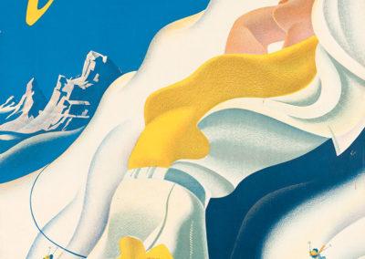 Champéry Téléférique Planachaux, Valais, Suisse, 1945. Martin Peikert (1901-1975), lithographie Klausfelder S.A., Vevey, CH. 100 x 65cm. Réf. 76-0443, eMuseum, Zürich