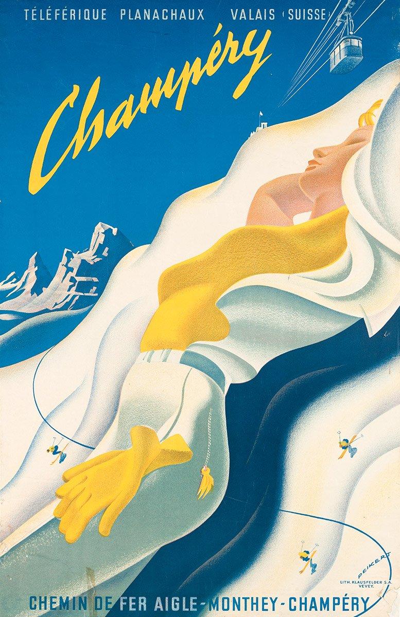 Champéry - Téléférique - Planachaux - Valais - Suisse, 1945. Martin Peikert (1901 - 1975), lithographie Klausfelder S.A., Vevey, CH. 100 x 65cm. Réf. 76-0443, eMuseum, Zürich. © 2019, ProLitteris, Zurich