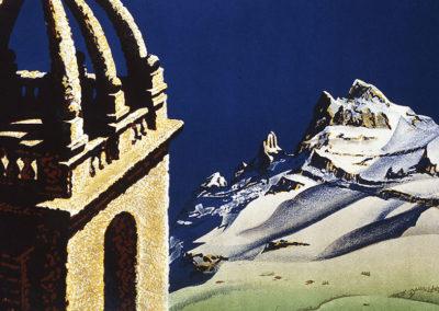Champéry, Valais, Suisse, 1945. Martin Peikert (1901-1975), lithographie Klausfelder S.A. Vevey, 100 x 65cm. Réf. BCV Ca-116, médiathèque du Valais-Sion