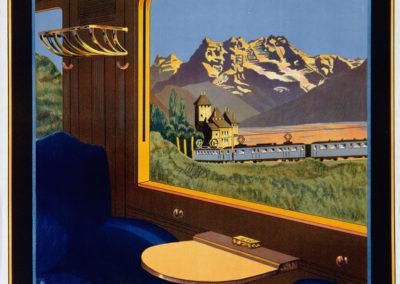 Switzerland Montreux-Bernese Oberland. Electric Railroad M.O.B., 1926. © Tous droits réservés, auteur anonyme, lithographie procédé Offset Atar, Genf, CH, 100 x 70cm. Réf. 01-0479, eMuseum Zürich