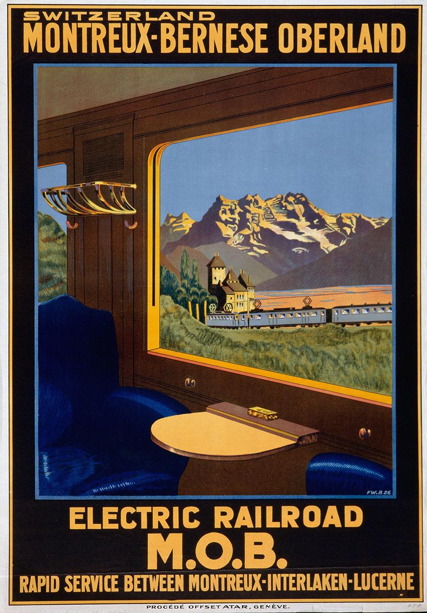 Switzerland - Montreux-Bernese Oberland - Electric Railroad M.O.B., 1926. © Tous droits réservés, auteur anonyme, lithographie procédé Offset Atar, Genf, CH, 100 x 70cm. Réf. 01-0479, eMuseum Zürich