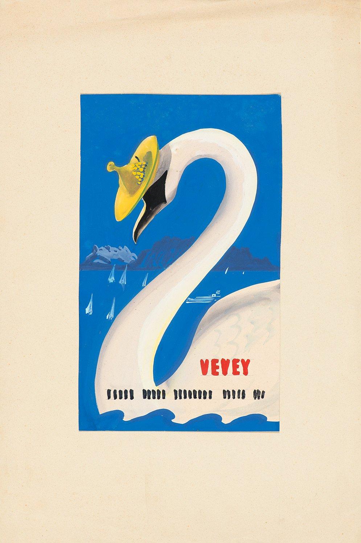Vevey, 1946. Martin Peikert (1901 - 1975), gouache et crayon 49,8 x 33,2cm. Réf. EC-0472, eMuseum, Zürich. © 2019, ProLitteris, Zurich