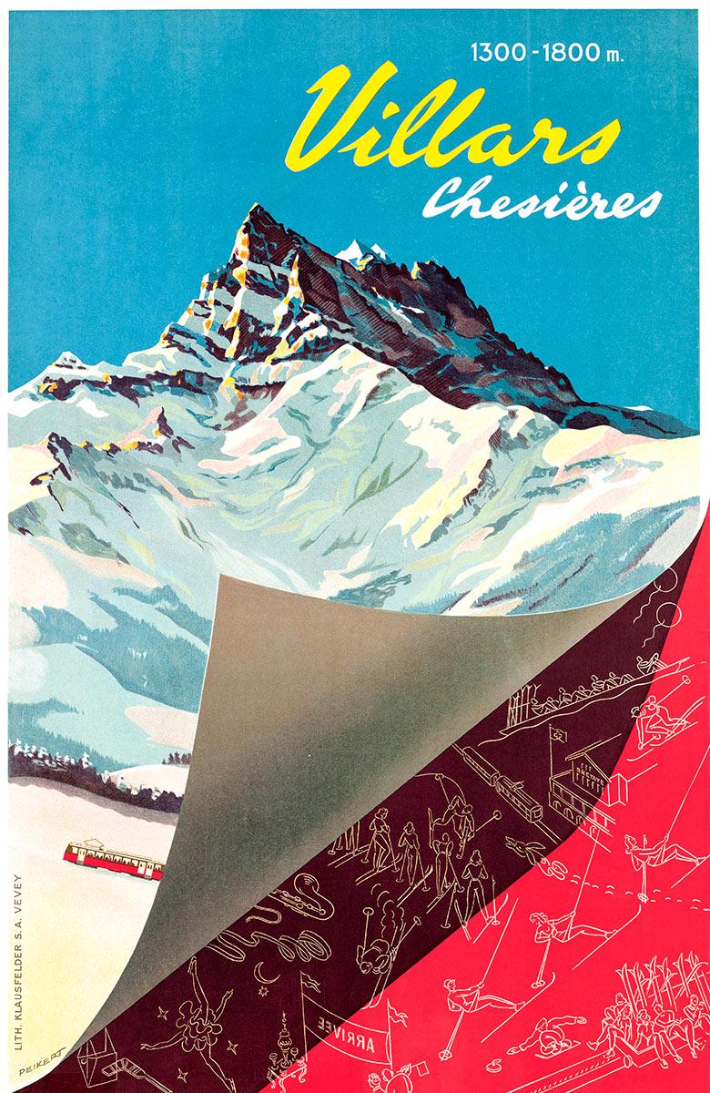 Villars - Chesières - 1300-1800 m., 1948. Martin Peikert (1901 - 1975), lithographie Klausfelder S.A., Vevey, CH, 100 x 65cm. Réf. 76-0445, eMuseum, Zürich. © 2019, ProLitteris, Zurich