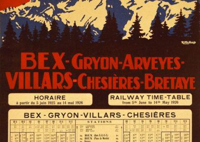 Bex-Gryon-Arveyes-Villars-Chésières-Bretaye, 1925. Rodolphe Michaud (1891-1944). Lithographie 48 x 31cm. Galerie 1 2 3. www. galerie123.com