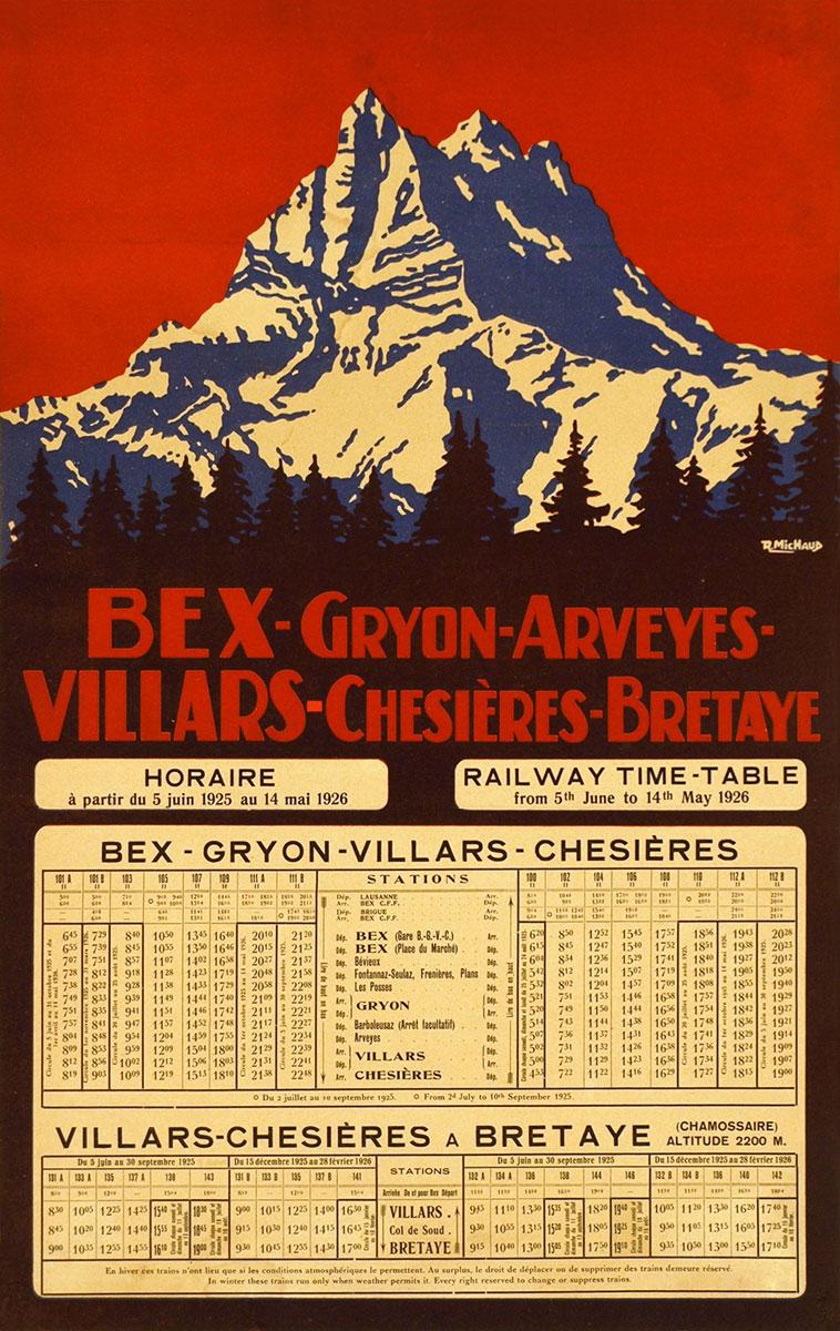 Bex-Gryon-Arveyes-Villars-Chésières-Bretaye, 1925. Rodolphe Michaud (1891 - 1944). Lithographie 48 x 31cm. Galerie 1 2 3, Genève, www. galerie123.com