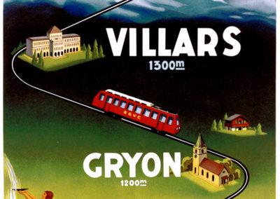 Bretaye-Villars-Gryon-Bex les Bains, chemins de fer, 1934. Lithographie couleur 100 x 65cm. © Tous droits réservés, auteur anonyme, lithographie A. Marsens, Lausanne. Galerie 1 2 3, Genève, www.galerie123.com