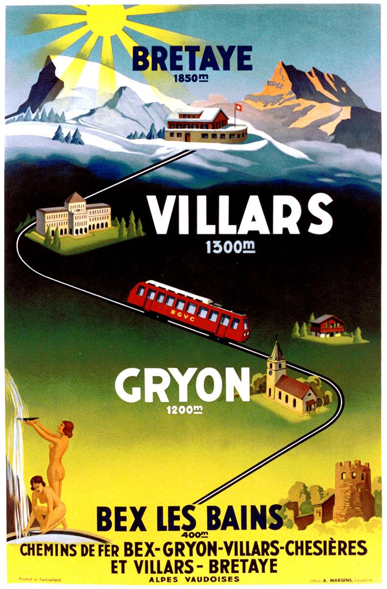 Bretaye - Villars - Gryon - Bex les Bains, chemins de fer, 1934. Lithographie couleur 100 x 65cm. © Tous droits réservés, auteur anonyme, lithographie A. Marsens, Lausanne. Galerie 1 2 3, Genève, www.galerie123.com