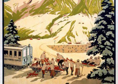 Champéry, Sports d'hiver, Valais - Suisse, 1913. Lithographie couleur 111 x 83cm. © Tous droits réservés, auteur anonyme, lithographie A. Trüb et Cie, Aarau. Galerie 1 2 3, Genève, www.galerie123.com