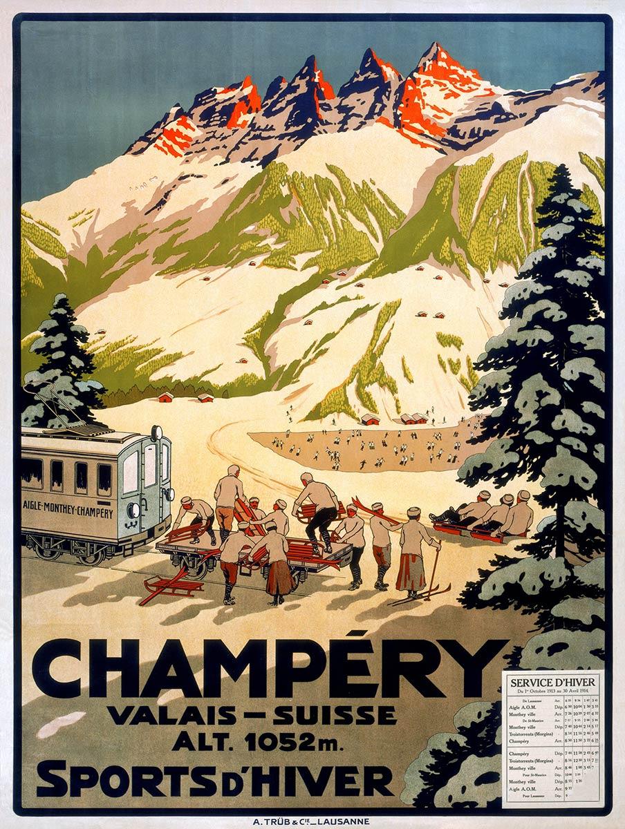 Champéry, Sports d'hiver, Valais - Suisse, 1913. Lithographie couleur 111 x 83cm. © Tous droits réservés, anonyme, lithographie A. Trüb et Cie, Aarau. Galerie 1 2 3, Genève, www.galerie123.com