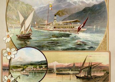 Compagnie Générale de Navigation sur le Léman, 1903. Lithographie 124 x 91cm. Anton Reckziegel (1865-1936), lithographie Hübacher & Co, Bern. Galerie 1 2 3, Genève, www.galerie123.com