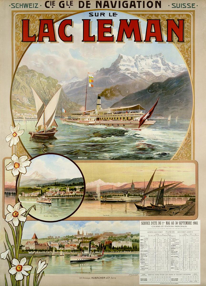 Compagnie Générale de Navigation sur le Léman, 1903. Lithographie 124 x 91cm. Anton Reckziegel (1865 - 1936), lithographie Hübacher & Co, Bern. Galerie 1 2 3, Genève, www.galerie123.com