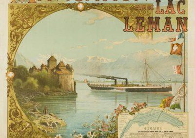 Compagnie Générale de Navigation sur le Lac Léman, 1891. Lithographie couleur 124 x 92cm. Vincent Blatter (1843-1913), imp. James Regamey, H. Dupuy & fils, imprimeurs. Réf. BCV Da-66, médiathèque du Valais-Sion
