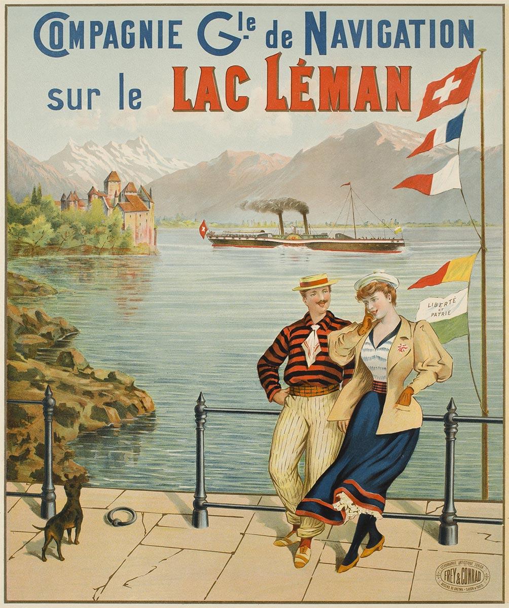 Compagnie Gle de Navigation sur le Lac Léman, vers 1895. Lithographie couleur 60 x 49cm. © Tous droits réservés, Dreyma, lithographie Frey & Conrad, Zürich. Galerie 1 2 3, Genève, www.galerie123.com