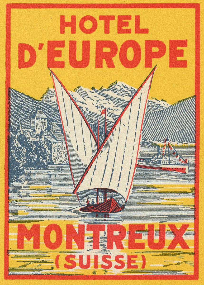 Etiquette de bagage. Hôtel d'Europe, Montreux, Suisse