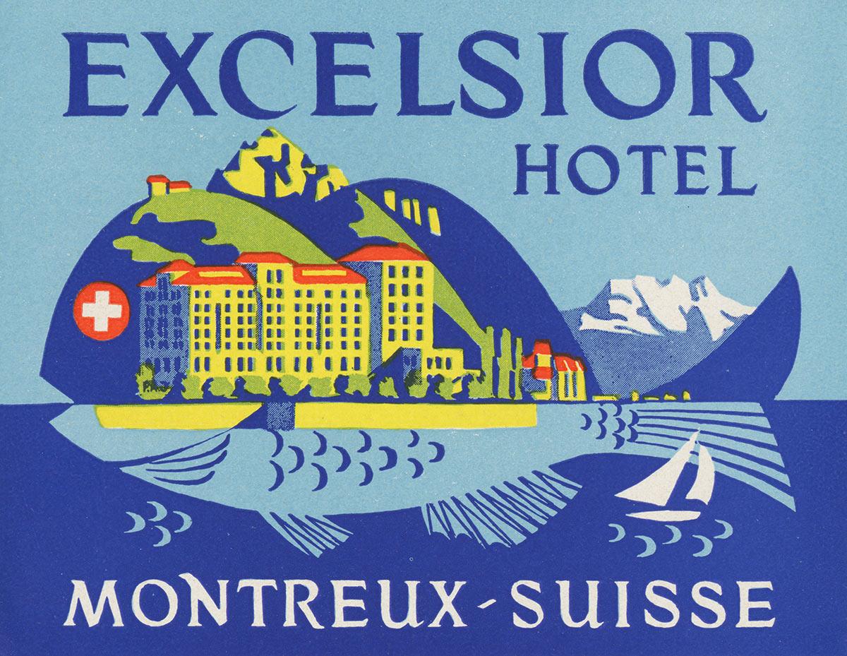Etiquette de bagage. Hôtel Excelsior, Montreux, Suisse