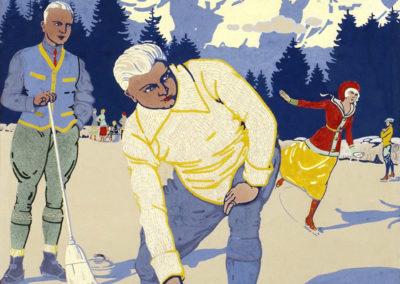 Gryon-Villars, vers 1910. Gouache sur papier 74 x 61cm. Rodolphe Michaud (1891-1944). Galerie 1 2 3, www.galerie123.com