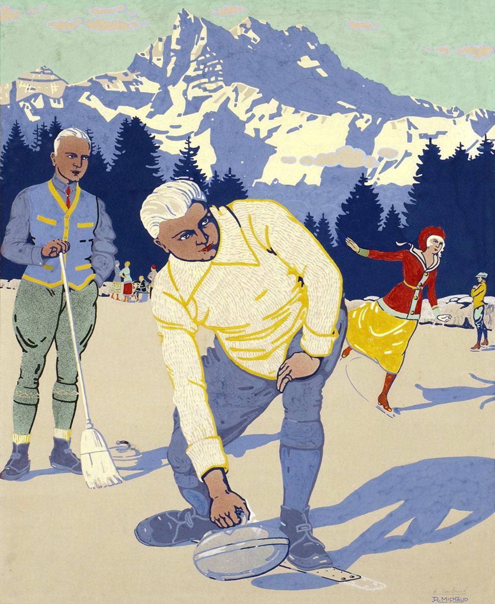 Gouache Affiche Gryon-Villars, vers 1910. Gouache sur papier 74 x 61cm. Rodolphe Michaud (1891 - 1944). Galerie 1 2 3, Genève, www.galerie123.com