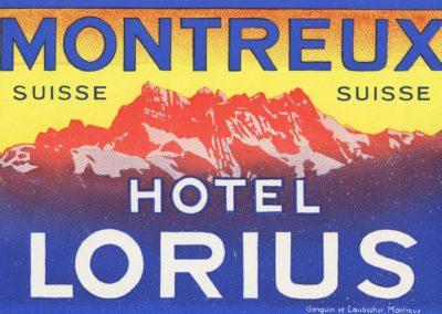 Etiquette de bagage de l'Hôtel Lorius à Montreux (Suisse)