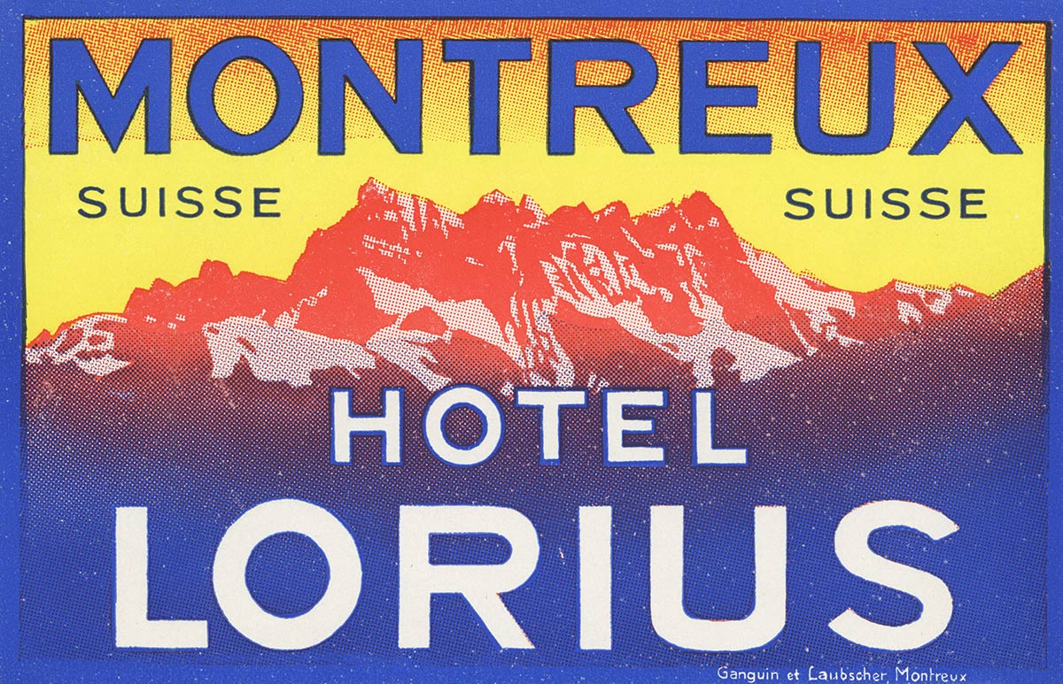 Etiquette de bagage. Hôtel Lorius, Montreux, Suisse. © Ganguin et Laubscher, Montreux