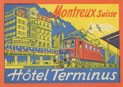 Etiquette de bagage de l'Hôtel Terminus à Montreux (Suisse)