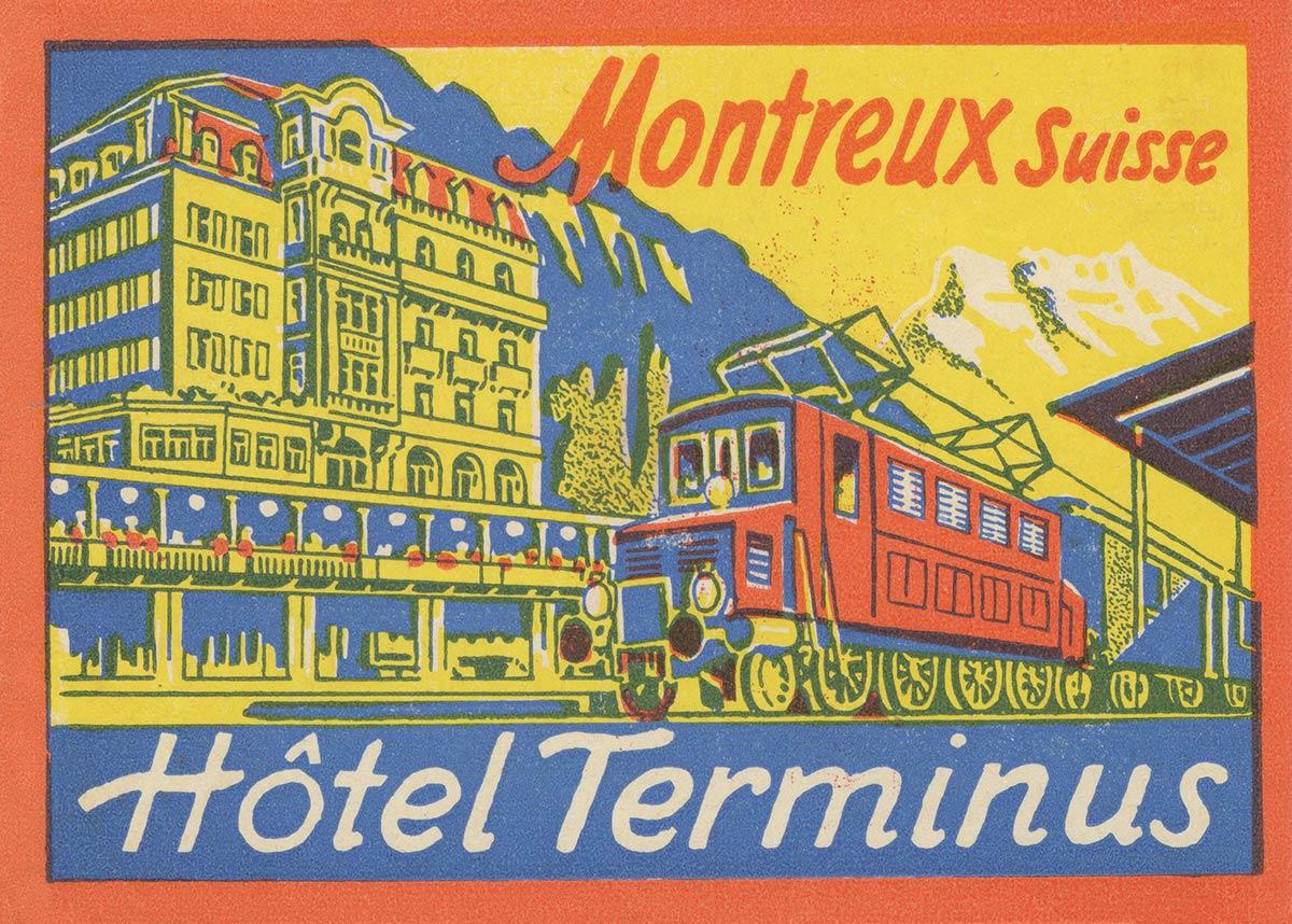 Etiquette de bagage. Hôtel Terminus, Montreux, Suisse